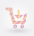 shopping cart composed of colorful dots vector image vector image