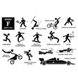 sport games alphabet f icons pictograph frontenis vector image