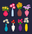spring and summer bouquets in vases vector image vector image