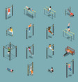 street workout isometric icons vector image vector image