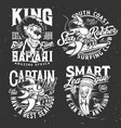 t-shirt prints lobster lion and pencil mascot vector image vector image