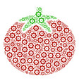 tomato vegetable composition of cog vector image vector image