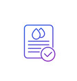 water quality check line icon on white vector image vector image