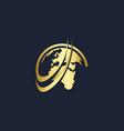 world globe technology gold logo vector image