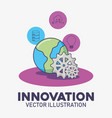 world planet and gear work technology innovation vector image vector image