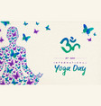 yoga day card girl in lotus pose for meditation vector image vector image