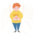 a cute a father carrying a sleeping daughter vector image vector image