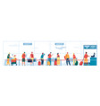 airport check in desk queue people with luggage vector image