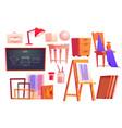 art classroom furniture artist studio set vector image vector image