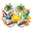 beach concept with sunglasses vector image vector image