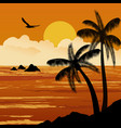 beautiful tropical sunset with palm trees vector image vector image