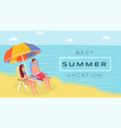best summer resort flat banner spouses vector image vector image