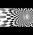 black and white abstract tunnel vector image vector image