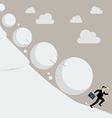 Businessman running away from snowball effect vector image vector image
