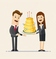 businessman take a cake of money party vector image
