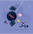 businessman try escape from debt vector image vector image