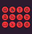 camping hiking outdoor adventure icons set vector image