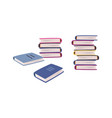 cartoon books stack blue cover book collection vector image
