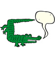 cartoon crocodile with speech bubble vector image vector image