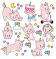 cartoon cute white cat unicorns funny capricorn vector image vector image