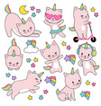 cartoon cute white cat unicorns funny caticorn vector image
