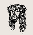 christ face sketch drawing vector image vector image