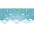 christmas cloud background with hanging vector image