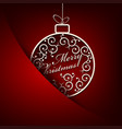 christmas red background with white ball retro vector image vector image