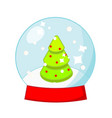 christmas snow globe with spruce tree inside new vector image