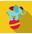 Circus elephant on ball icon vector image vector image