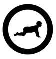 crawling baby icon black color in circle vector image vector image