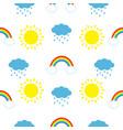 cute cartoon kawaii sun cloud with rain rainbow vector image vector image