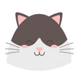 cute cat black and white head vector image vector image