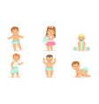 cute happy toddler babies set adorable boys and vector image vector image