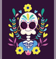 day dead catrina with flowers earrings vector image