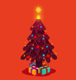 decorated christmas tree with star gift boxes vector image vector image