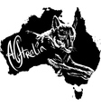 Dingo on map of Australia vector image vector image