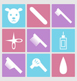 Dog grooming icons set or pet hair salon vector image