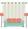 Empty Sofa In Front Of Brown Curtain vector image vector image