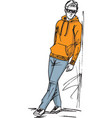 fashion sketch of man vector image