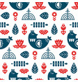 folk art seamless pattern with bird and floral vector image