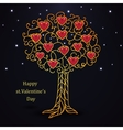 Gold forged valentines day tree with hearts vector image vector image
