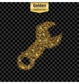 Gold glitter icon of spanner isolated on vector image