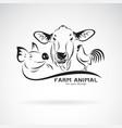 group animal farm label cowpigchicken logo vector image