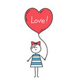 happy valentinesgirl holding heart shaped balloon vector image vector image