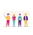 hipster people standing together vector image vector image