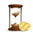 Hourglass with coins poster vector image vector image