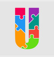 jigsaw color shape puzzle piece letter - u vector image vector image