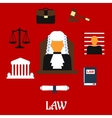 Judge with court flat icons vector image vector image