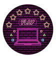 laptop play button neon video game wall vector image vector image
